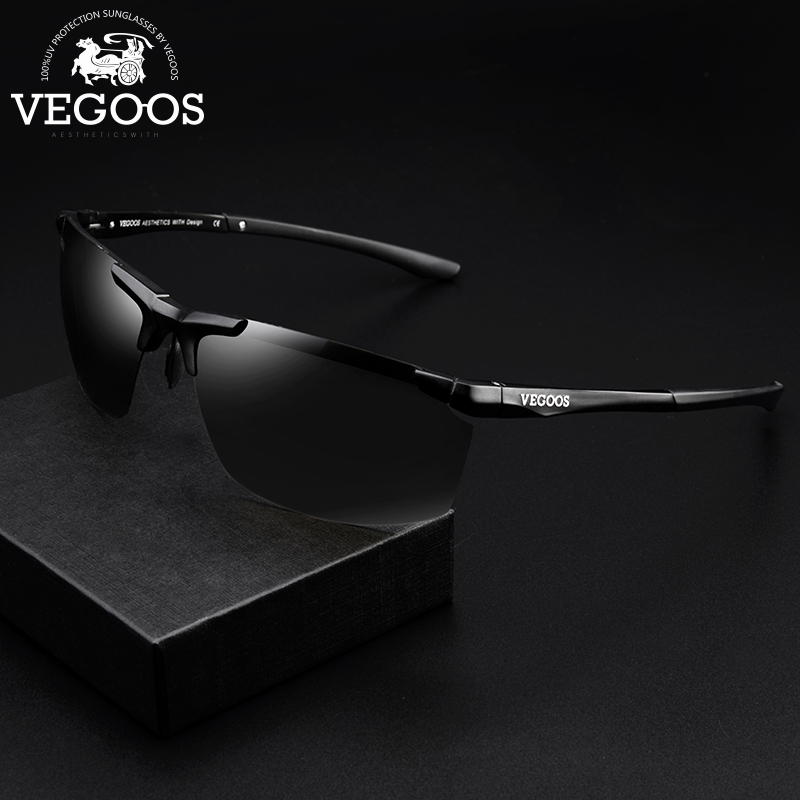 VEGOOS Sports Sunglasses for Men Polarized Driving UV400 Protection Sun Glasses Lightweight Al Mg Frame Sunglass