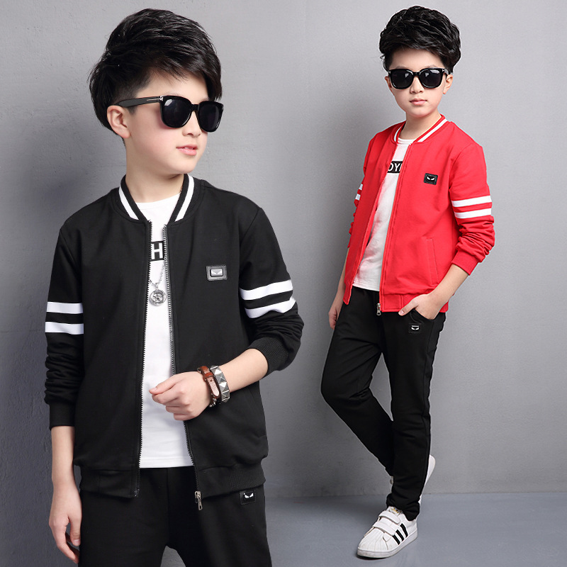 Suit New Pattern Spring Clothes Korean Leisure Time Sleeve Solid Color Three-piece Kids Clothing Sets Suits