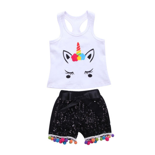2PCS Summer Kids Baby Girls Cartoon Unicorn Outfits Vest T shirt Tops Bowknot Sequins Shorts Pants girls baby long sleeve tops t shirt bib cartoon minnie 2pcs outfits set 1 5y