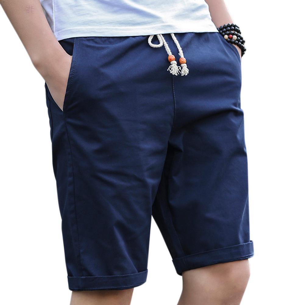 MISSKY Summer Men Casual Cotton Short Pants Short Trousers Beach Shorts Gift