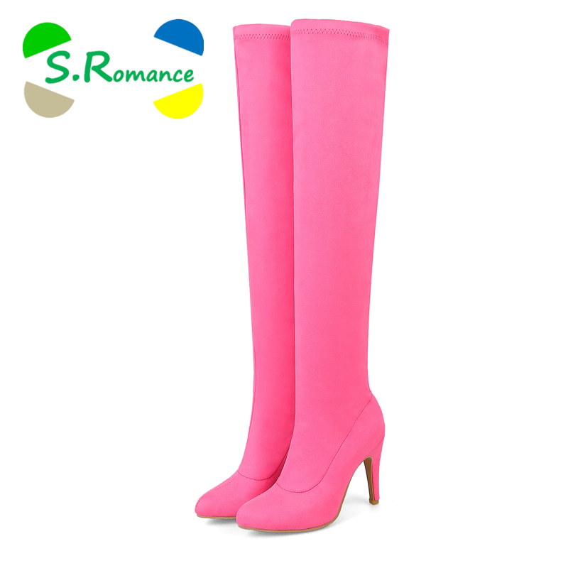 S.Romance Women Boots Over The Knee Plus Size 34 43 High Spike Heels Female Pumps Fashion Woman Shoes Black Gray Red Pink SB029-in Over-the-Knee Boots from Shoes    1