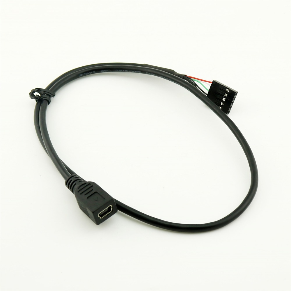 1pcs 50cm Mini USB 5 Pin Female to Dupont 5Pin Female Header PCB Motherboard Adapter Cable