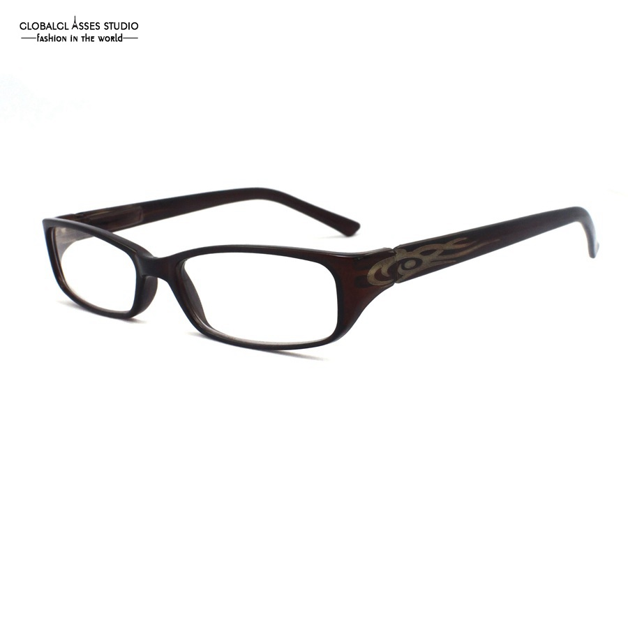 Hot Selling Full Rim Acetate Glasses Frame Men Brown Color Fire Pattern Teenager Street Fashion Spectacle Frame B1027