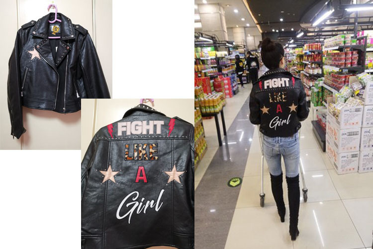 Women Letters Print Leather Jacket Long Sleeve Studded Outerwear Female Winter Coat Motocycle Biker Strass Jacket