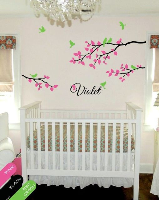 Personalized Wall Decal Branch Nursery Monogram Decoration For Babys Room DIY Removable Wallpaper Size 394 X