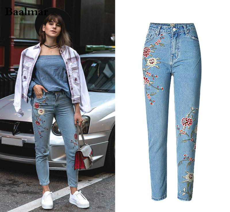 Baalmar Mom Jeans 2017 New Embroidery High Waisted Jeans Floral Ripped Boyfriend Jeans For Women Denim Straight Pants women jeans autumn new fashion high waisted boyfriend street style roll up bottom casual denim long pants sp2096