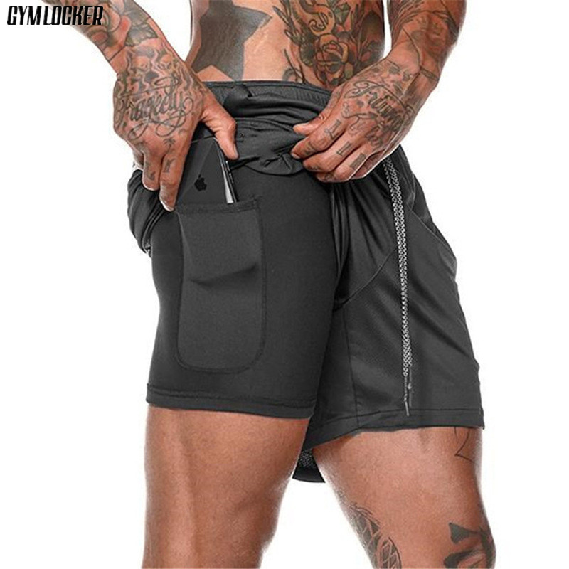 GYMLOCKER New Men's 2 In 1 Runnings Shorts Men Quick Drying Camouflage Exercise Jogging Shorts Gyms With Built-in Pocket Liner