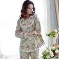 Pijamas primavera e no verão das mulheres 100% longo-luva de algodão sleepwear doce set lounge ocasional rendas princesa