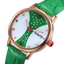 2016 New NORTH Brand Luxury Diamond Rhinestone Watch Fashion Rose Gold Watch Women Watches Ladies Quartz-Watch Hour reloj mujer