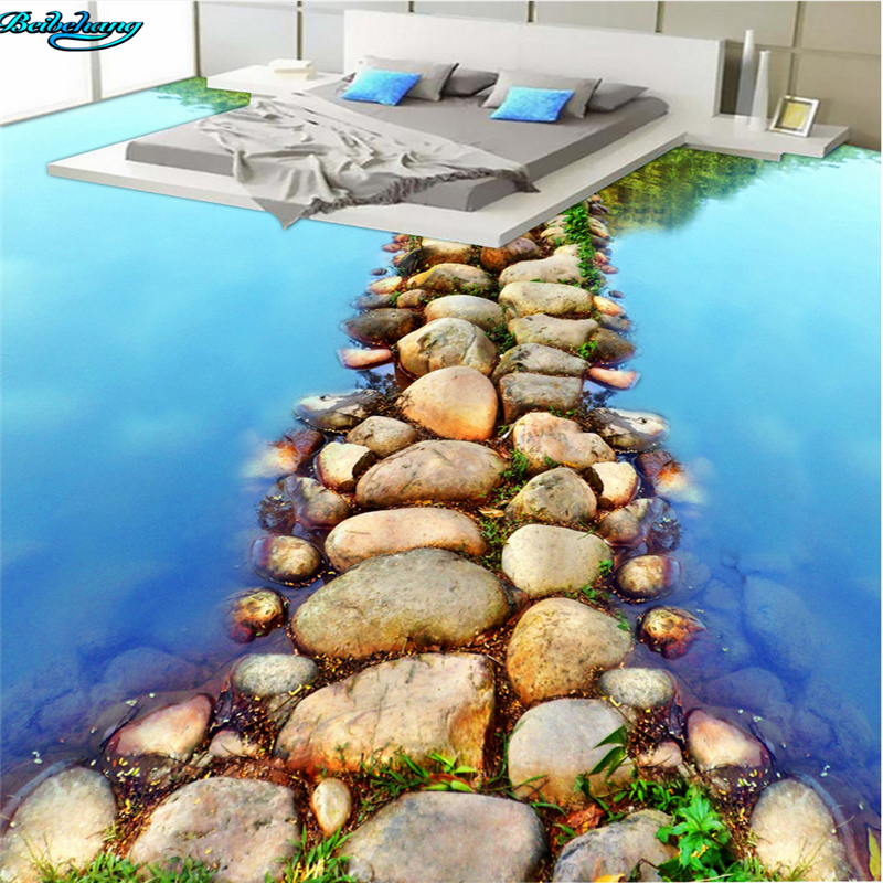beibehang Large custom flooring beautiful river stone slate path bathroom bathroom 3D floor decoration painting slate