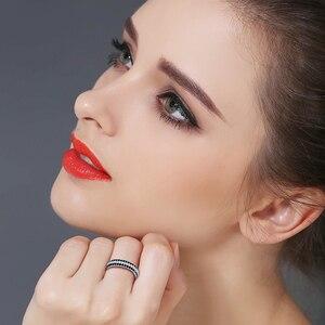 Image 2 - [BLACK AWN] Anillo de Plata de Ley 925 Vintage para mujer, espinela negra redondos de anillos de compromiso, joyería de plata de ley C443
