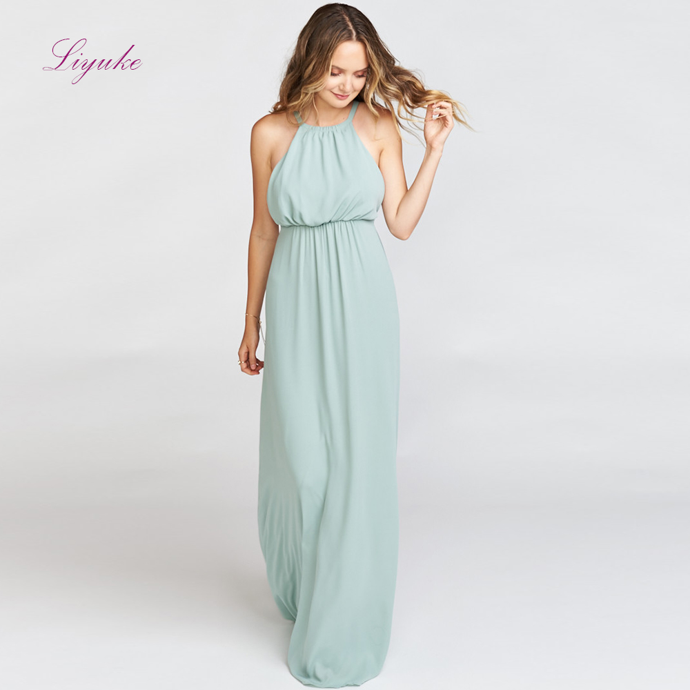 Liyuke A line   Bridesmaid     Dress   Long   Dress   Halter Neck Backless Design Chiffon Simple Design Customized Free Shipping