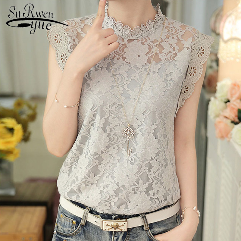 2019 fashion gray lace women   blouse     shirt   plus size sleeveless women tops sexy hollow lace women's clothing   shirts   blusas 59G 30