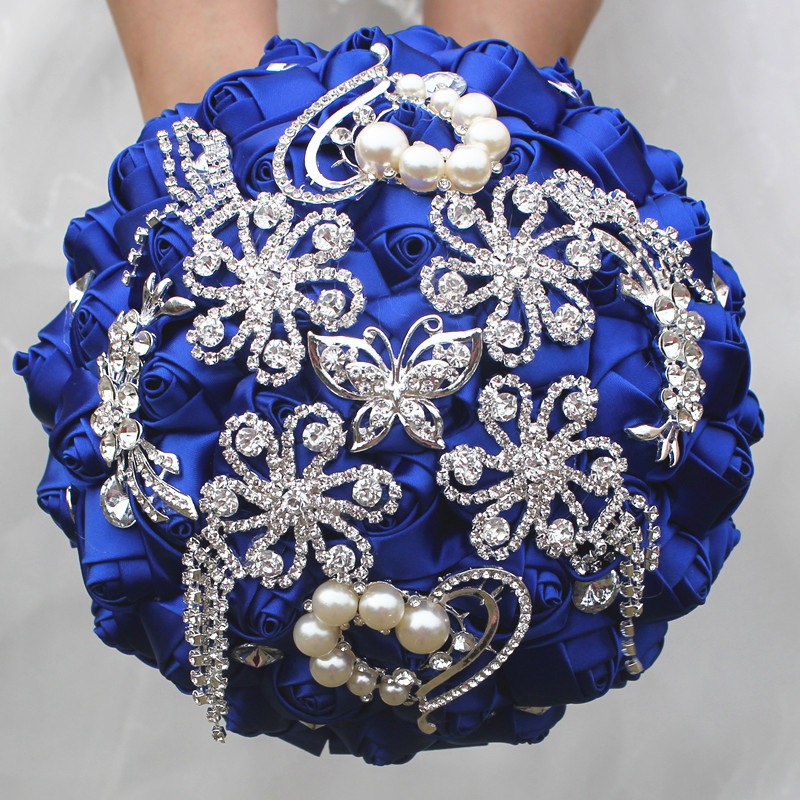 Royal Blue Satin Flowers Wedding Bouquets Tassels Crystal
