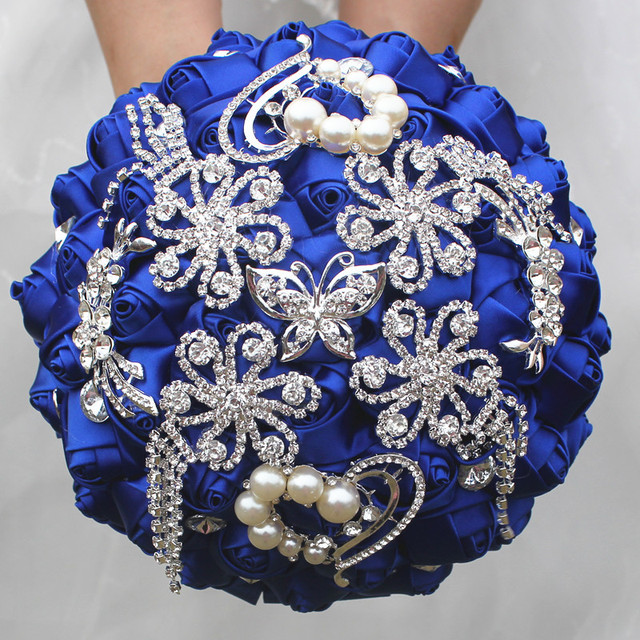 Royal Blue Satin Flowers Wedding Bouquets Tassels Crystal Diamond ...