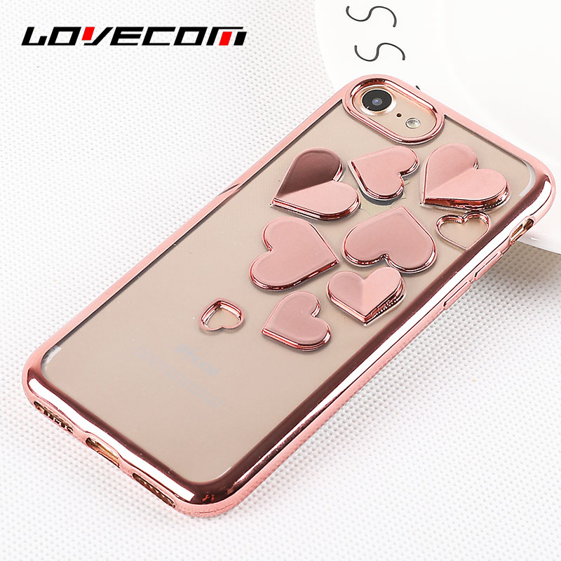 LOVECOM 3D Hollow Hearts Electroplating Case For iPhone 6 6S 7 8 Plus X luxury Transparent Soft TPU Phone Cases Cover