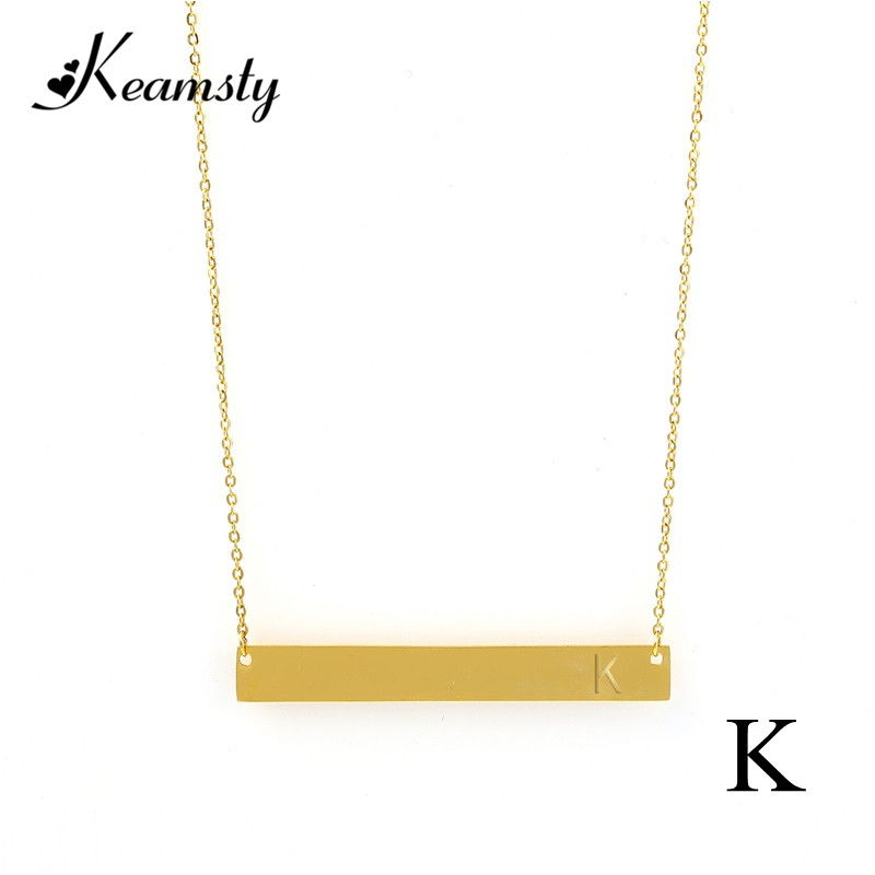 Keamsty Personality Bar Pendant Necklace Letter K Rectangle Choker Stainless Steel Initial Necklaces for Women Gift Jewelry