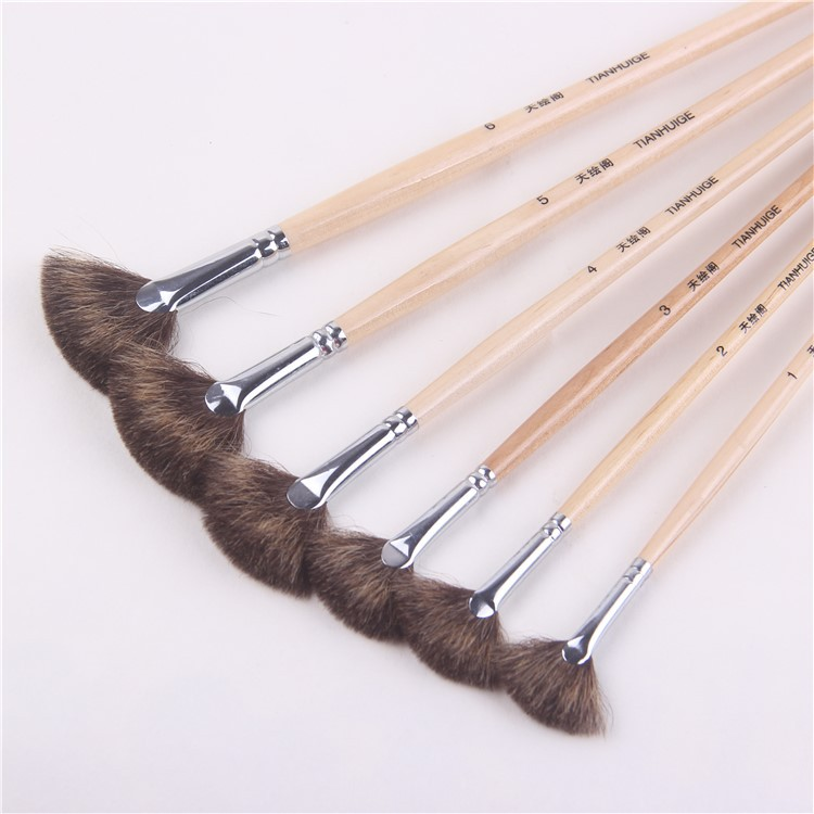 6 Pcs/set Wood Rod Acrylic Painting Brush Mixed Hair Fan Shpe Oil Painting Brush Pen Student Art Supplies Drawing Material