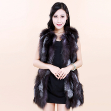 New Year 2016 black fox, silver fox fur vest jacket and long sections are small models
