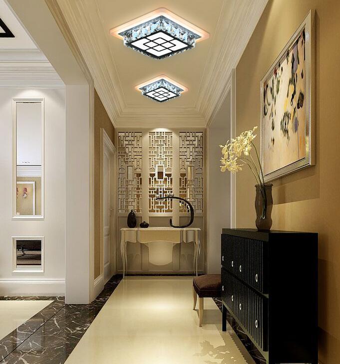 LED creative ceiling lamps square hall aisle lights balcony crystal lamp entrance SJ4272