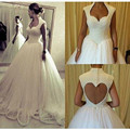 Beaded Pearls Ball Gown Wedding Dresses Open back Bridal Gowns Dresses 2017 Newest Model W11524