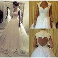 Pérolas frisado vestido de Baile Vestidos de Noiva Aberto para trás Vestidos de Noiva Vestidos de 2017 Mais Novo Modelo W11524