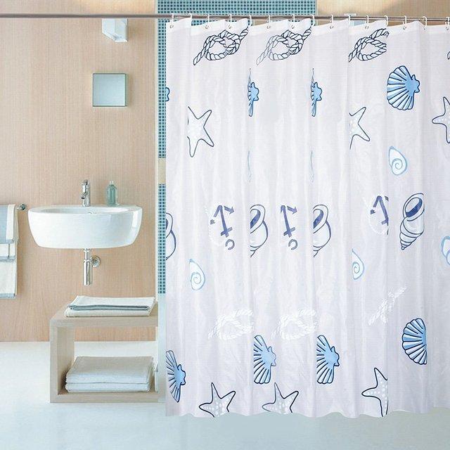 Shower Curtain Liner Clear Mildew Resistant Waterproof Plastic Bathroom Seashell Conch Starfish