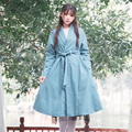 2017 Early Spring Vintage Cotton Linen Shawl Collar Long Trench Coat Women Solid Mori Girl Retro Single Button Sashes Coats V077