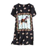 100 Natural Silk Ladies Casual Style Cute Animal Print Dress Women Mini Length Short Slevees O