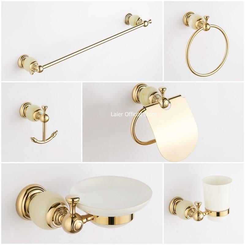 Shiny gold bathroom accessories set White jade stone ...