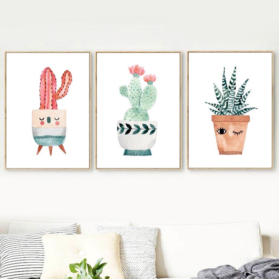 Gohipang Watercolor Cartoon Potted Cactus Flower Wall Art
