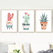 Gohipang Watercolor Cartoon Potted Cactus Flower Wall Art Canvas Painting Nordic Posters And Prints Pictures Kids Room