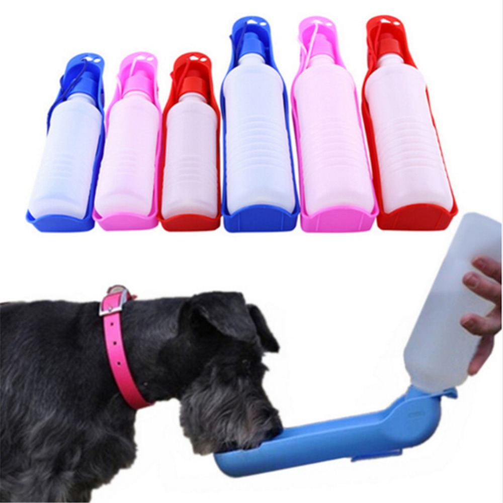 2 Size Foldable Pet Dog Drinking Water Bottles Travel Hand Held Puppy Dogs Squeeze Water Bottle Dispenser Flip Down Water Pan
