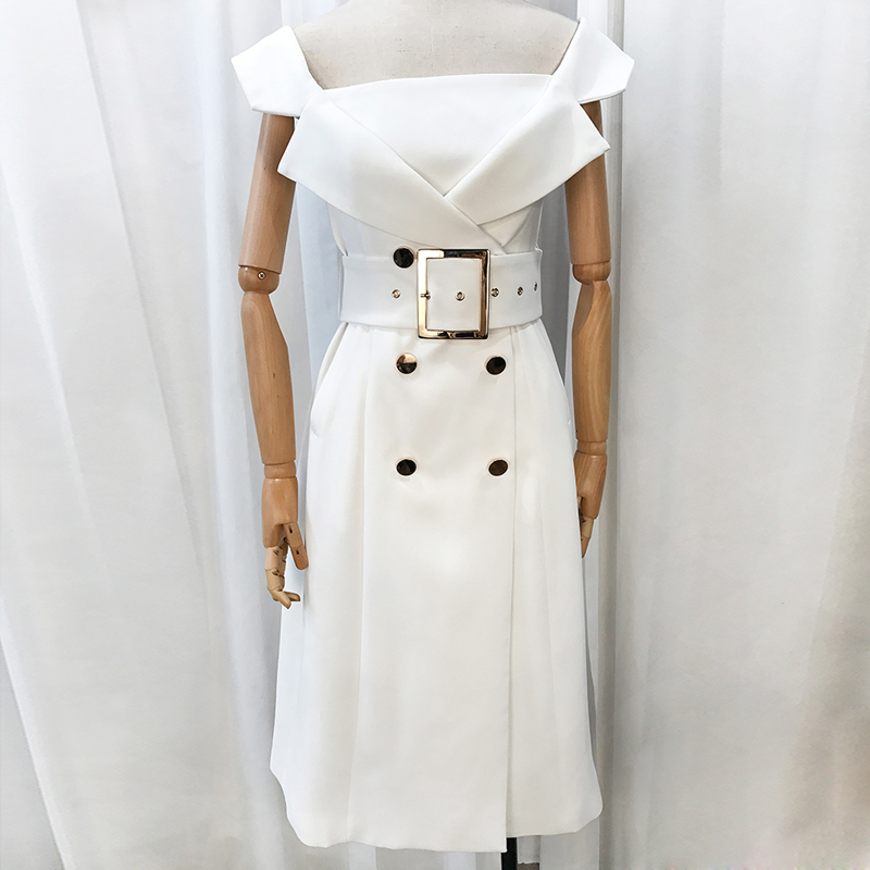HIGH QUALITY New Fashion 2019 Designer Runway Dress Women s Notched Collar Double Breasted Belt Dress