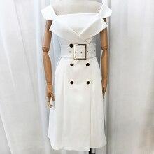 Высокое качество нового Мода 2017 Дизайнер взлетно-посадочной полосы платье Женщины Зубчатый воротник двубортный Платье с поясом