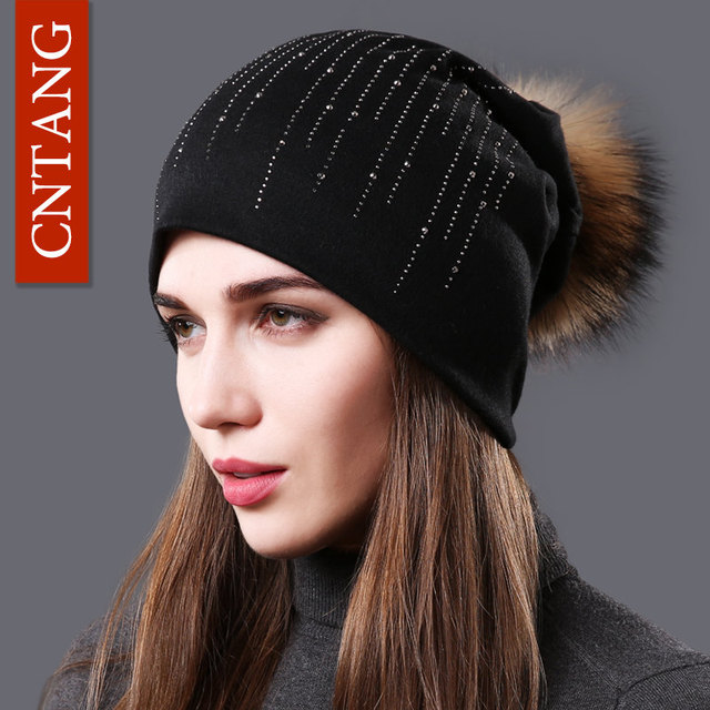 CNTANG 2018 Autumn Fashion Rhinestones Hats For Women Winter Warm Cotton  Beanies Raccoon Fur Pompom Caps Female Knitted Thin Hat 7796f42b066c