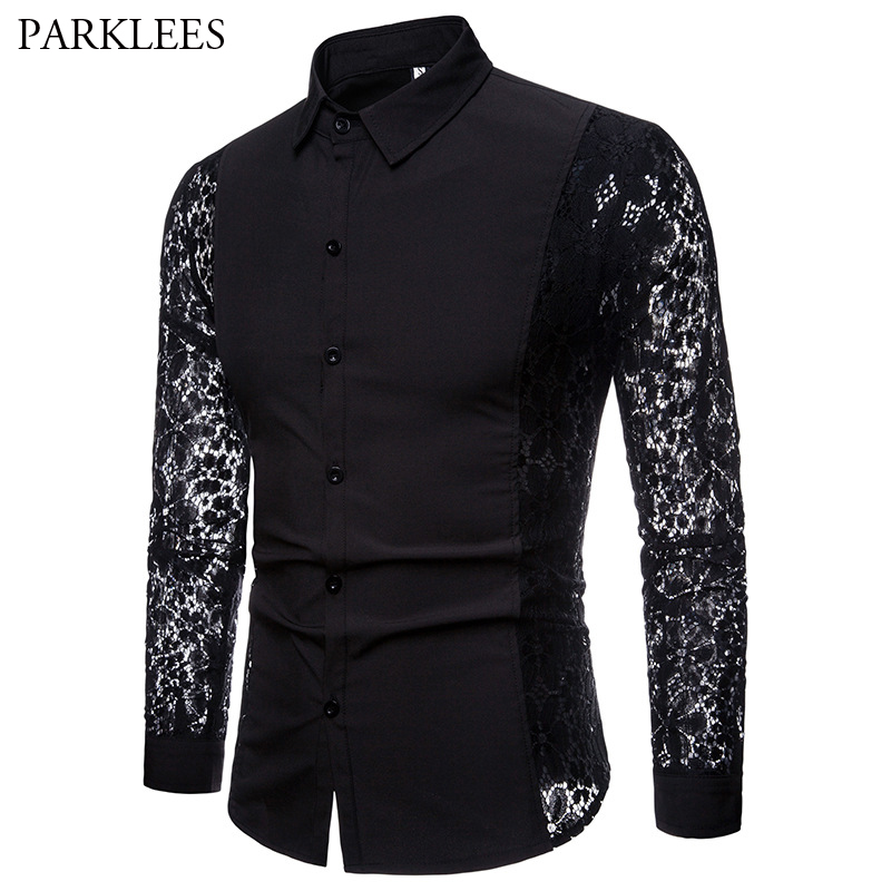 Mens Flower Patchwork Embroidery Lace Shirt 2019 Fashion Transparent Sexy Dress Shirts Mens See Trough Club Party Event Chemise