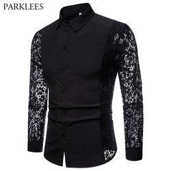 Mens Flower Patchwork Embroidery Lace Shirt 2019 Fashion Transparent Sexy Dress Shirts Mens See Trough Club Party Event Chemise 1