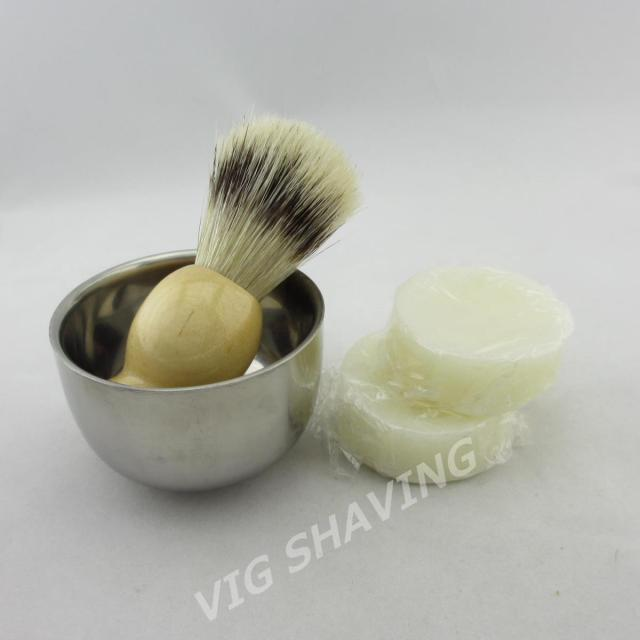 Shaving set Faux badger color boar brilstle shaving brush Stainless steel shaving mug with 2cps soap