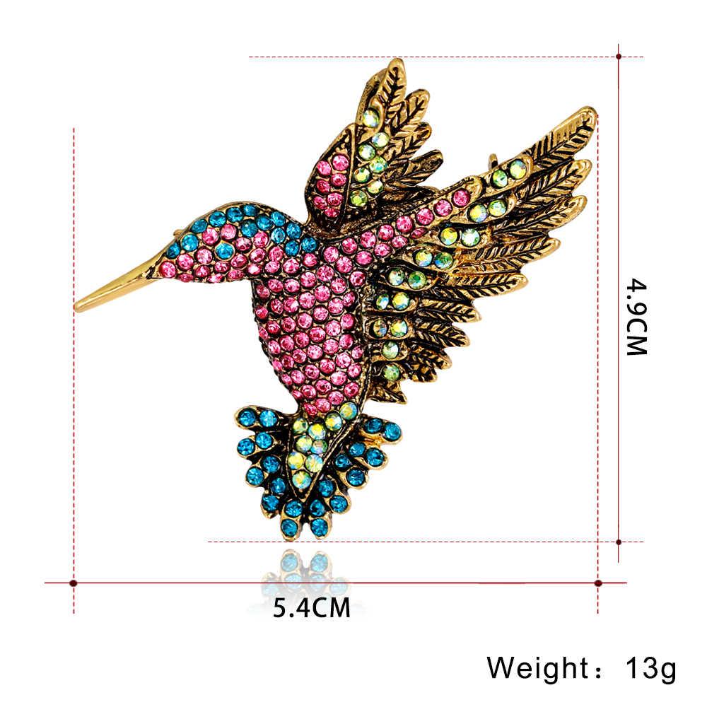 Hummingbird Bros Kristal Hewan Burung Wanita Pakaian Syal Aksesori Vintage Perhiasan