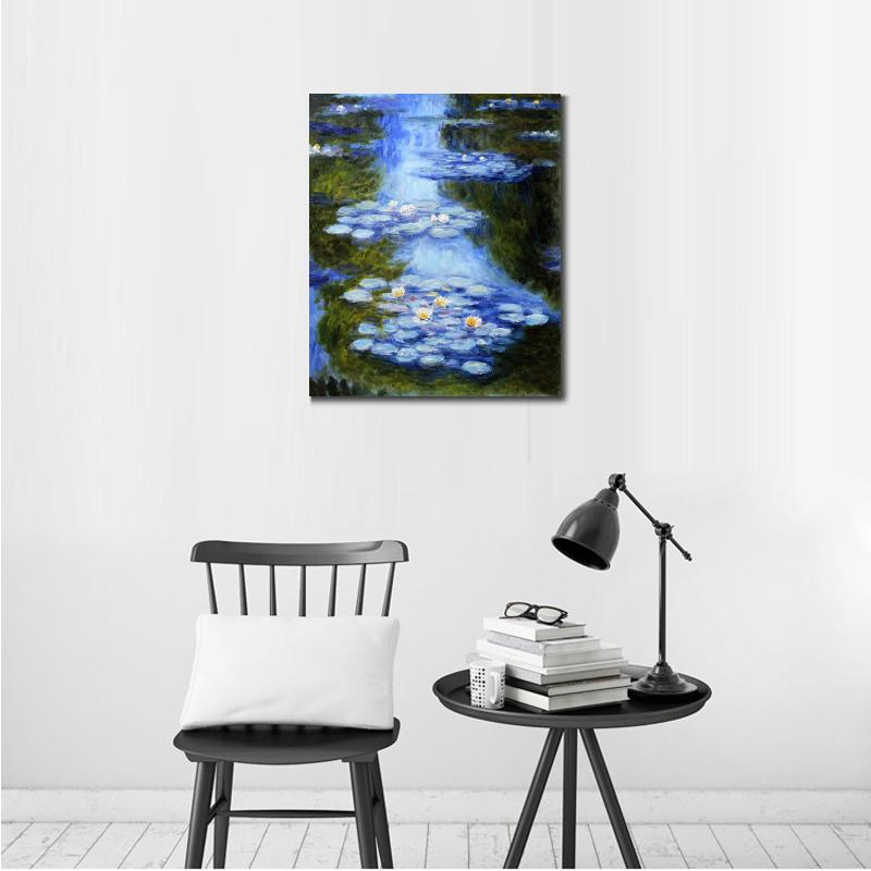 Handmade-oil-painting-reproduction-of-Claude-Monet-High-quality-Water-Lilies-blue-green-Living-room-decor (1)