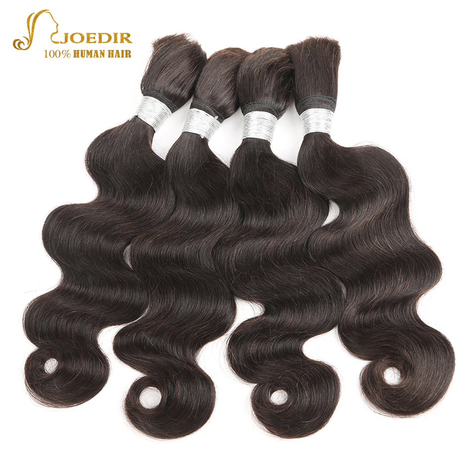 Joedir Nature Colored Human Bulk Hair for Braiding 4 Pcs/Lot Body Wave Remy Brazilian Braiding Human Hair Bulk Free Shipping