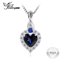 JewelryPalace Classical Heart Shape 0 9ct Created Sapphire Pendant Real 925 Sterling Silver Romantic Jewelry Not