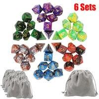 Sıcak Satış Kurulu Oyunu 42 adet 6 renk Bulutsusu Etkisi Ile Poker Zar Set d & d d4, d6, d8, d10, d %, d12, d20 Çokyüzlü Zar Rpg Oyunu Dices