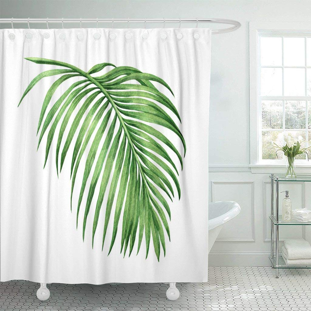 Us 17 06 36 Off Shower Curtain Hooks Watercolor Painting Palm Leaf Green Leave White Hand Coconut Closeup Brush Stroke Decorative Bathroom In Shower