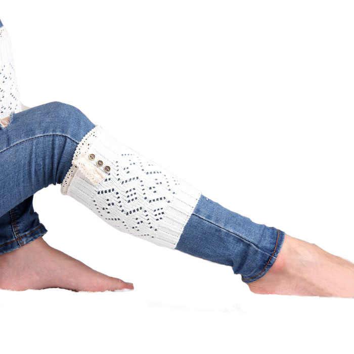 2018 Sunward kadın Tığ Örme Dantel Trim Toppers Bacak Isıtıcıları Çorap bot paçaları