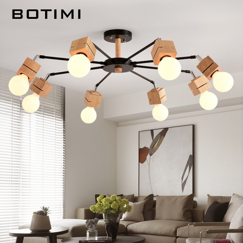 BOTIMI New E27 Ceiling Lights Wooden Room Lamps Lamparas De Techo Surface Mount Indoor Lamp For Bedroom Living Room Kitchen modern led acrylic flush mount ceiling lamp living room bedroom lighting lamparas de techo study room lamps free shipping