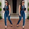 2016 Hot sale Autumn women Denim Jumpsuit Rompers Front tie up Sleeveless blue jean bodysuit skinny Jumpsuits womens Overalls