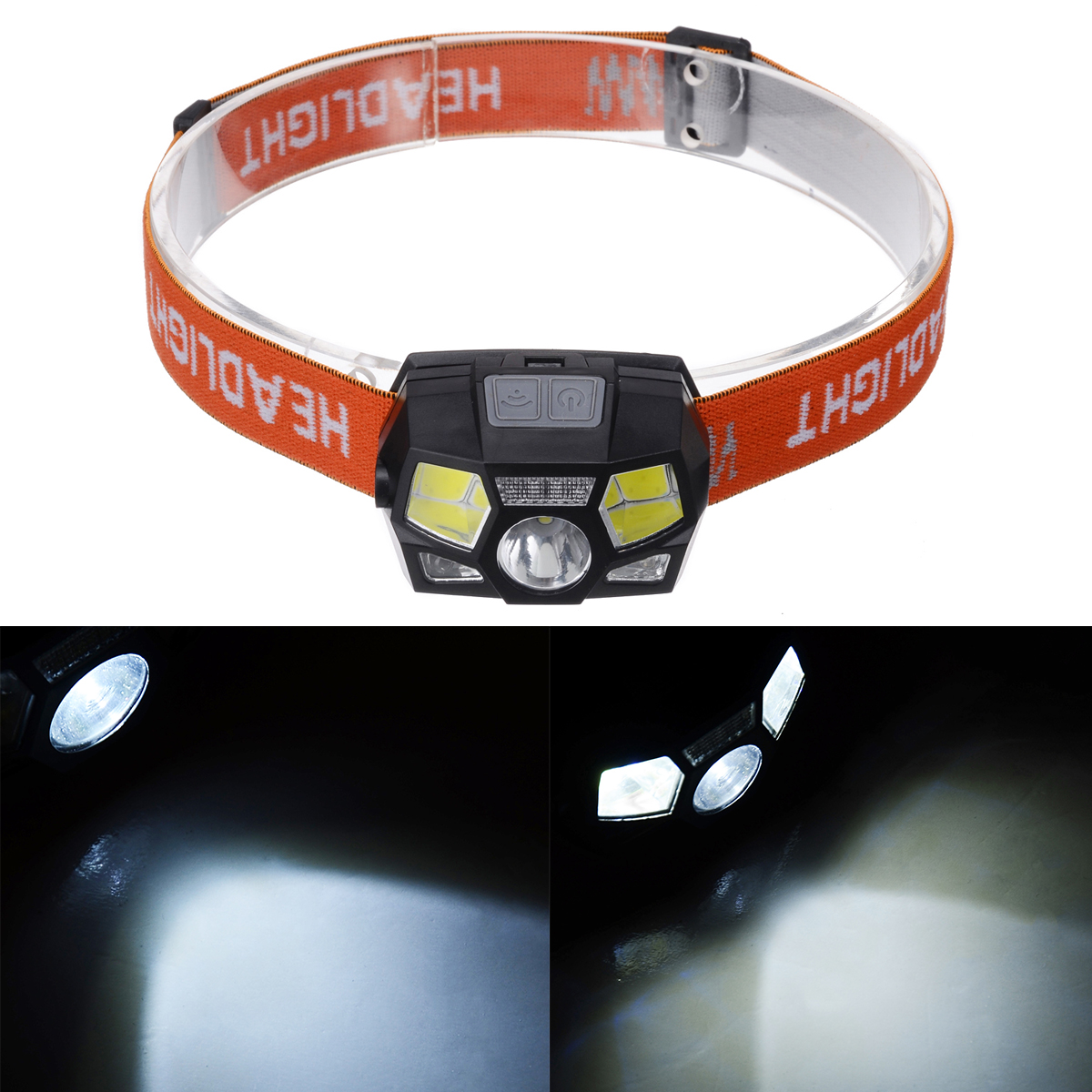<font><b>60000LM</b></font> Double-switch Waterproof USB Rechargeable Head Lamp Light <font><b>LED</b></font> Headlamp Motion Sensor Headlight For Night Cycling image
