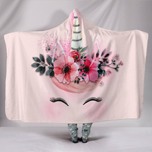 30 Styles Unicorn Pattern 3D Printed Plush Hooded Blanket for Beds Cartoon Galaxy Warm Wearable Soft Fleece Throw Blankets